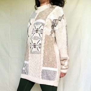 VTG 90s Lagenlook Chunky Knit Colorblock Sweater